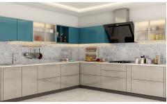 """Угловая современная кухня """"Angle"""" с глянцевыми фасадами."""