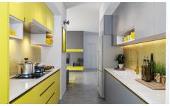 """Компактная кухня """"Sun"""" с крашеными фасадами в стиле модерн."""