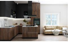 """Кухня с островом """"Island"""" - сочетание шпонированных и крашеных фасадов."""