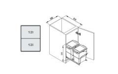 Мусорное ведро REJS двойное  2x12l фасад 40