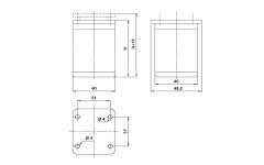 Ножка мебельная регулируемая 40x40 квадратная h=60мм черная
