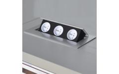 Удлинитель для офиса GTV на 3 розетки SCHUCKO с заземлением алюминий