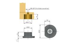 Нога мебельная  Italiana Ferramenta Integrato Z 12 мм (опора регулируемая)