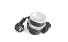 Удлинитель для офиса GTV на 1 розетку SCHUKO с заземлением, зарядка USB 5V 2A, серый